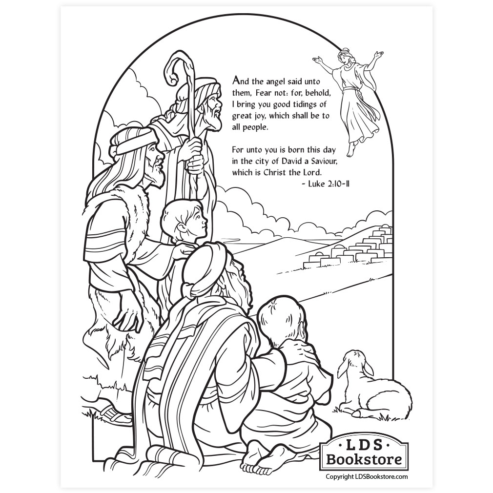 Shepherds Nativity Coloring Page Printable Christmas Coloring Page