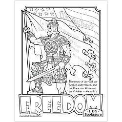 Title of Liberty Freedom Coloring Page - Printable lds fourth of july coloring page, lds fourth of july printable, lds title of liberty coloring page, title of liberty coloring page, lds july 4