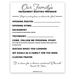 At-Home Sacrament Meeting Program - Printable at home sacrament meeting, at home church worksheet