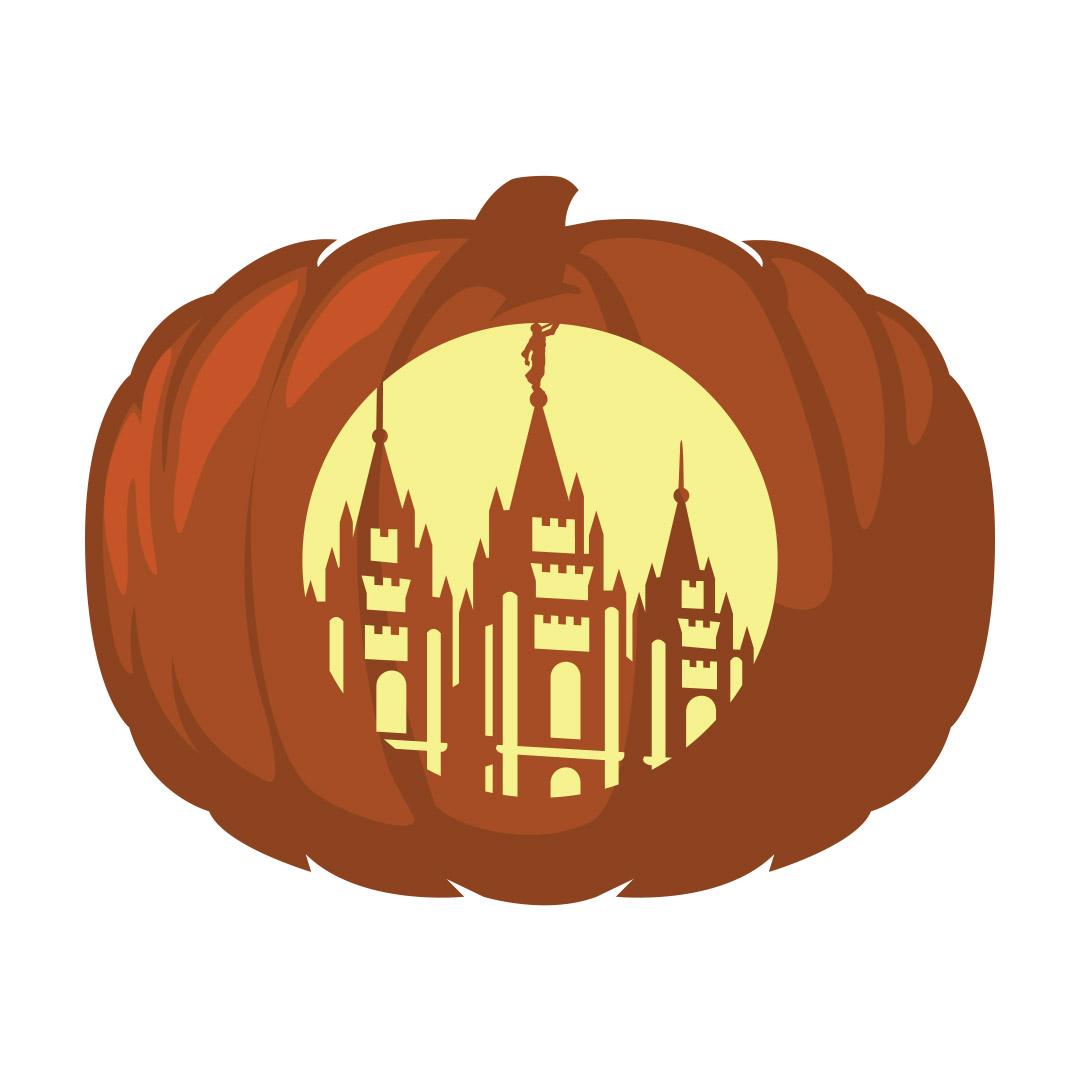 Salt Lake City Temple Pumpkin Carving Template - Printable  - LDPD-PBL-PUMP-SLCTEMP-1