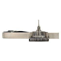 Jordan River Utah Temple Tie Bar - Silver