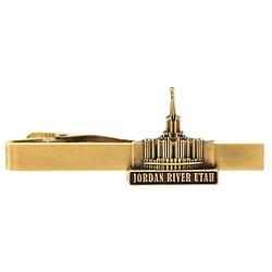 Jordan River Utah Temple Tie Bar - Gold
