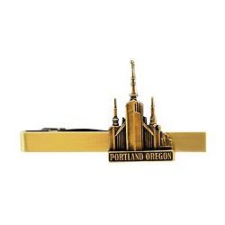 Portland Oregon Temple Tie Bar - Gold
