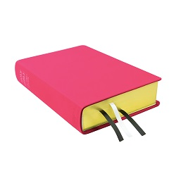 Large Hand-Bound Leather Bible - Bright Fuchsia pink lds scriptures, custom lds scriptures, pink lds scripture, pink Bible combination,color Bible combination scriptures,pink Bible combination scriptures