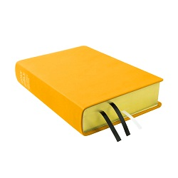 Large Hand-Bound Leather Bible - Canary Yellow yellow lds scriptures, custom lds scriptures, yellow lds scripture, yellow Bible combination, mustard lds scriptures,color Bible combination scriptures,yellow Bible combination scriptures