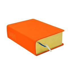 Large Hand-Bound Leather Quad - Marigold Orange orange lds scriptures, custom lds scriptures, orange lds scripture, orange quad,color quad scriptures,orange quad scriptures
