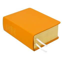 Hand-Bound Leather Quad - Light Orange orange lds scriptures, custom lds scriptures, orange lds scripture, orange quad,color quad scriptures,orange quad scriptures