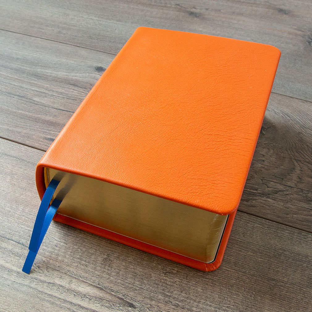 Hand-Bound Leather Quad - Marigold Orange - LDP-HB-RQ-MGO