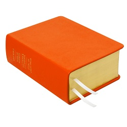 Hand-Bound Leather Quad - Marigold Orange orange lds scriptures, custom lds scriptures, orange lds scripture, orange quad,color quad scriptures,orange quad scriptures