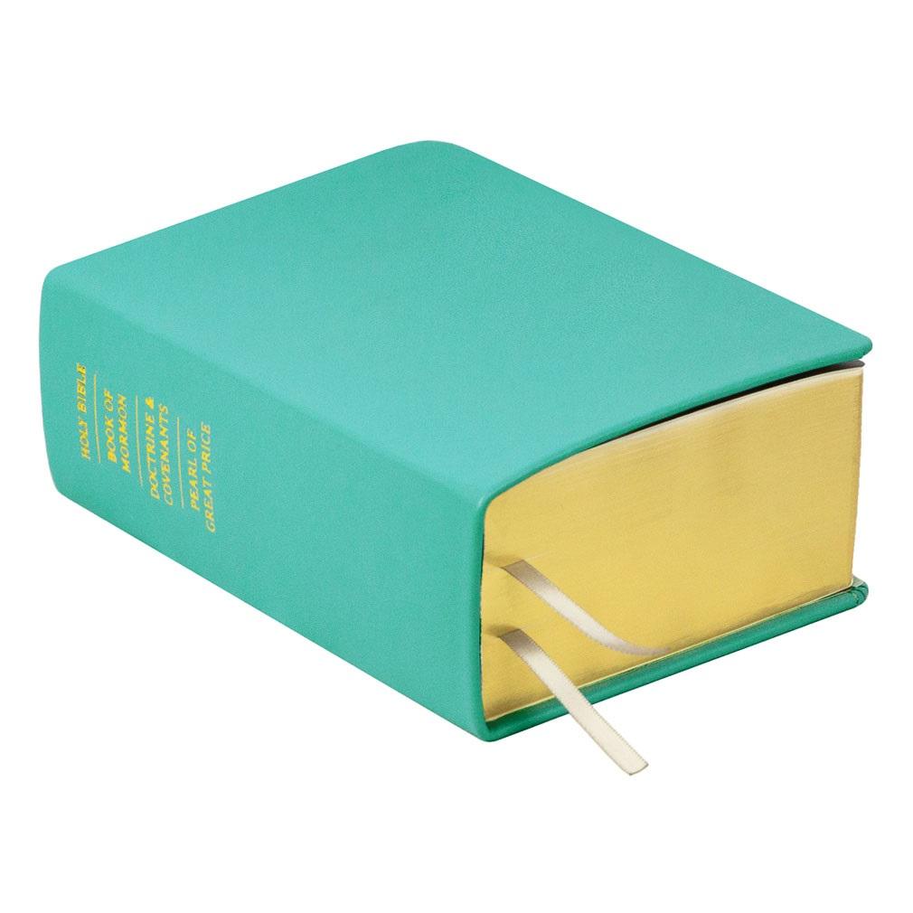 Hand-Bound Leather Quad - Turquoise turquoise lds scriptures, custom lds scriptures, turquoise lds scripture, turquoise quad, color quad scriptures, turquoise quad scriptures