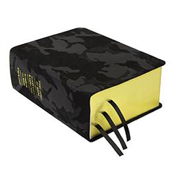 Hand-Bound Leather Quad - Black Camo camo lds scriptures, camo scriptures, lds scriptures for men,