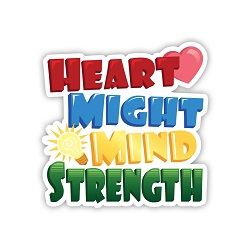 Heart Might Mind Strength Vinyl Sticker lds missionary sticker sticker, lds scripture sticker, lds water bottle sticker, lds laptop sticker, lds vinyl stickers